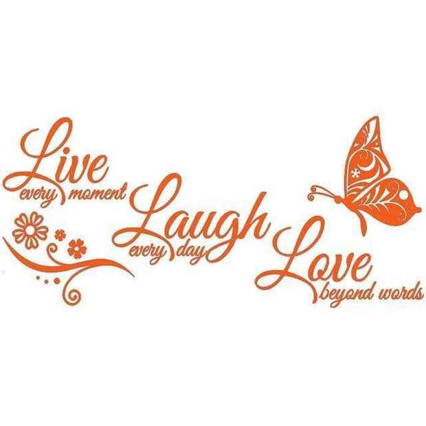 "Live Laugh Love Butterfly Flower Wall Art Sticker Orange / 38""x16"" Wall Sticker"