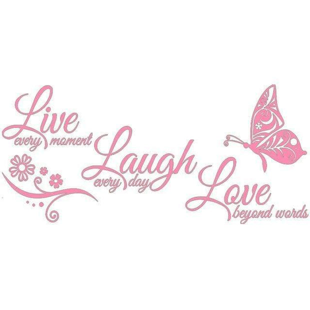 "Live Laugh Love Butterfly Flower Wall Art Sticker Pink / 38""x16"" Wall Sticker"