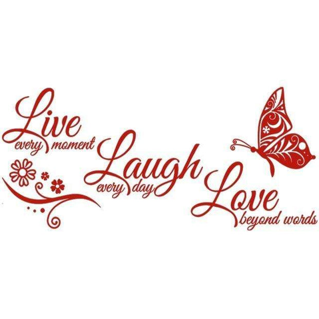 "Live Laugh Love Butterfly Flower Wall Art Sticker Red / 38""x16"" Wall Sticker"