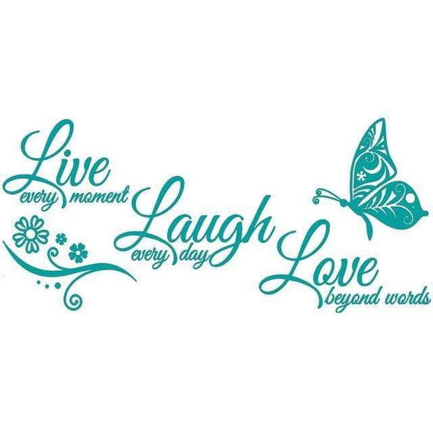 "Live Laugh Love Butterfly Flower Wall Art Sticker Teal / 38""x16"" Wall Sticker"