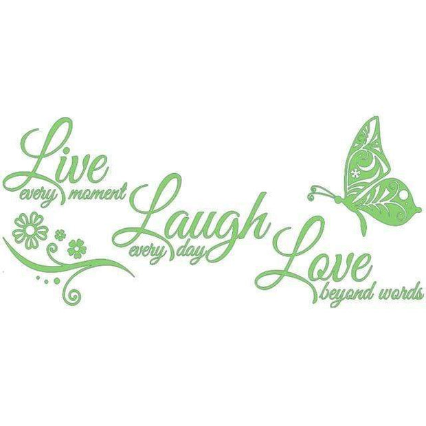 "Live Laugh Love Butterfly Flower Wall Art Sticker Tree Green / 38""x16"" Wall Sticker"