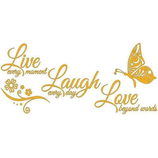 "Live Laugh Love Butterfly Flower Wall Art Sticker Yellow / 38""x16"" Wall Sticker"
