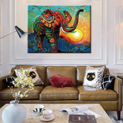 Mosaic Art Elephant Printed on Canvas Poster Canvas