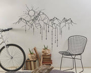 Mountain and Sun Line Art Sticker Wall Sticker