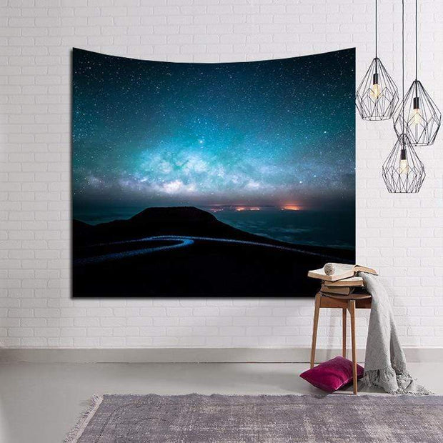 Mountain with Beautiful Night Sky Tapestry Tapestry