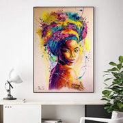 Multicolored Abstract Canvas Print of a Black Woman 12''x20'' / GL1403 Canvas