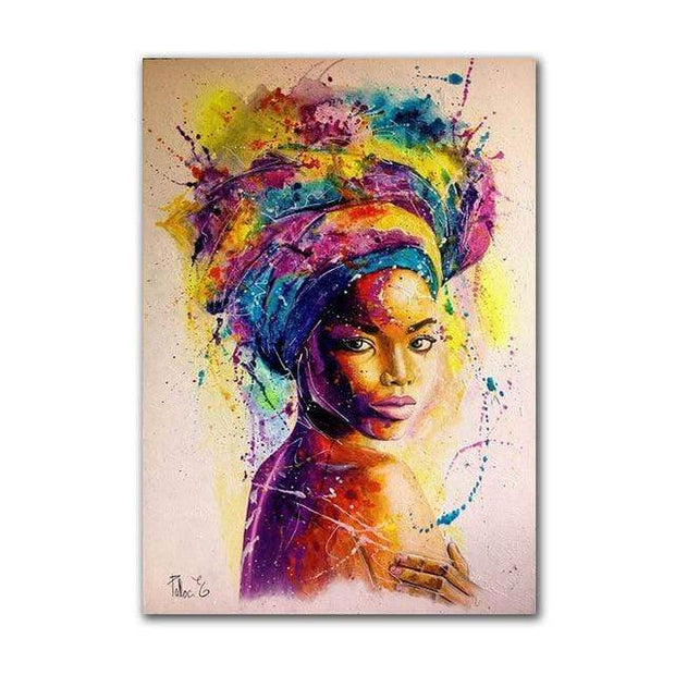 Multicolored Abstract Canvas Print of a Black Woman Canvas