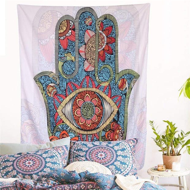Multicolored Bohemian Hamsa Hand Tapestry Tapestry