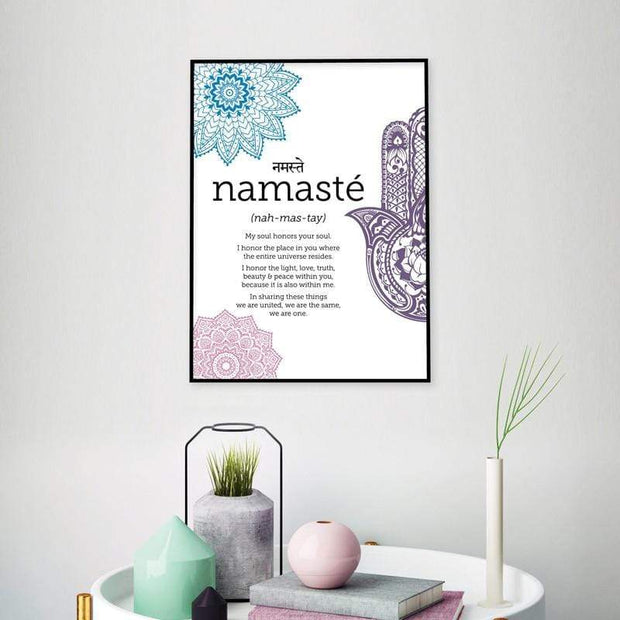 Namaste Definition Canvas Poster For Yoga Wall Decor Canvas