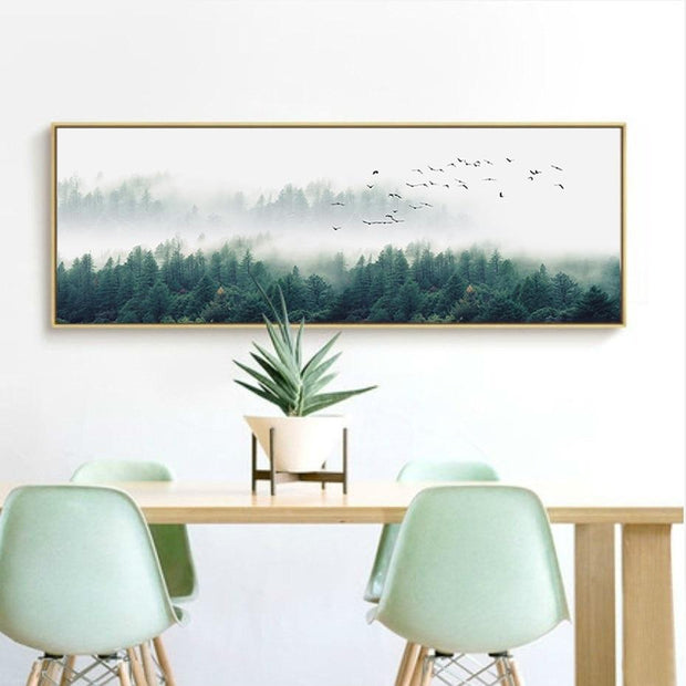 Nordic Foggy Forest Canvas Paintings Wall Art Canvas