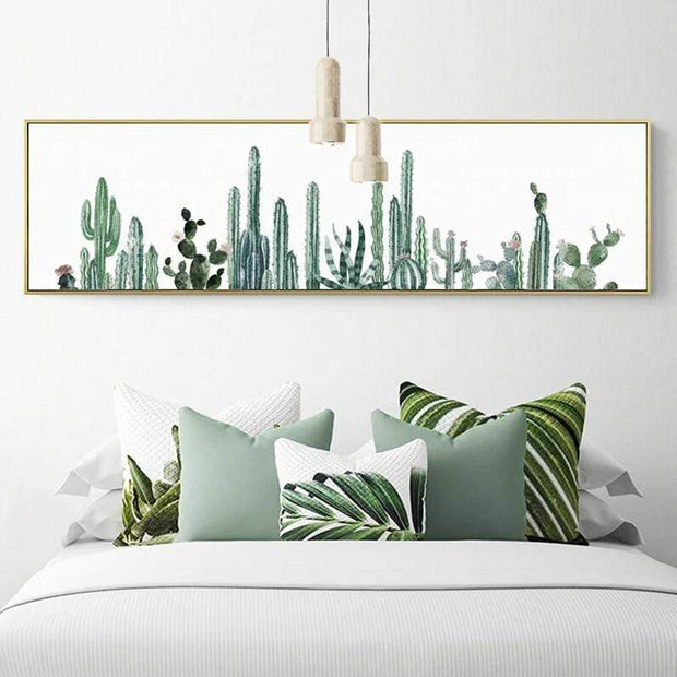 "Nordic Foggy Forest Canvas Paintings Wall Art Cactus / 20""x6"" Canvas"