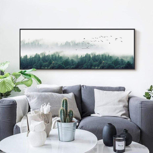 "Nordic Foggy Forest Canvas Paintings Wall Art Forest / 20""x6"" Canvas"