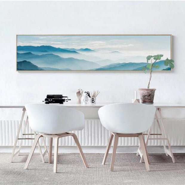 "Nordic Foggy Forest Canvas Paintings Wall Art Mountain / 20""x6"" Canvas"