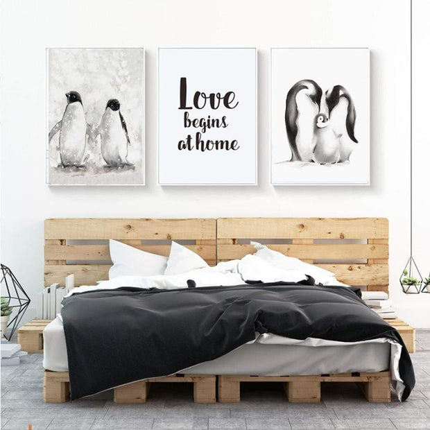"Nordic Style Love Quote And Penguin Canvas Poster 4""X6"" / Love Begins At Home canvas"