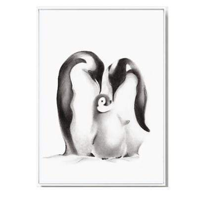 "Nordic Style Love Quote And Penguin Canvas Poster 4""X6"" / Penguin Family canvas"