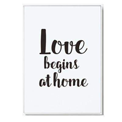 "Nordic Style Love Quote And Penguin Canvas Poster 6""x8"" / Love Begins At Home canvas"
