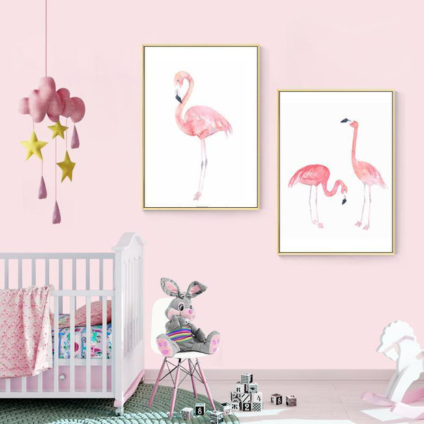 Nordic Style Pink Flamingos Canvas Posters canvas