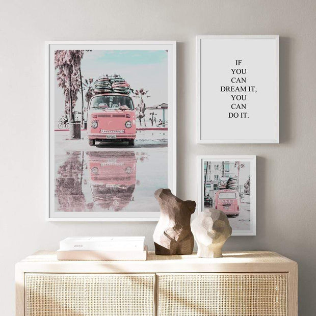 Nordic Wall Art Collection of Beach, Pink Surf Camper Van and an Inspirational Quote Canvas