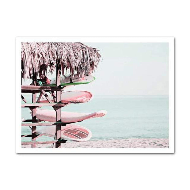 "Nordic Wall Art Collection of Beach, Pink Surf Camper Van and an Inspirational Quote Beach / 5""x7"" Canvas"