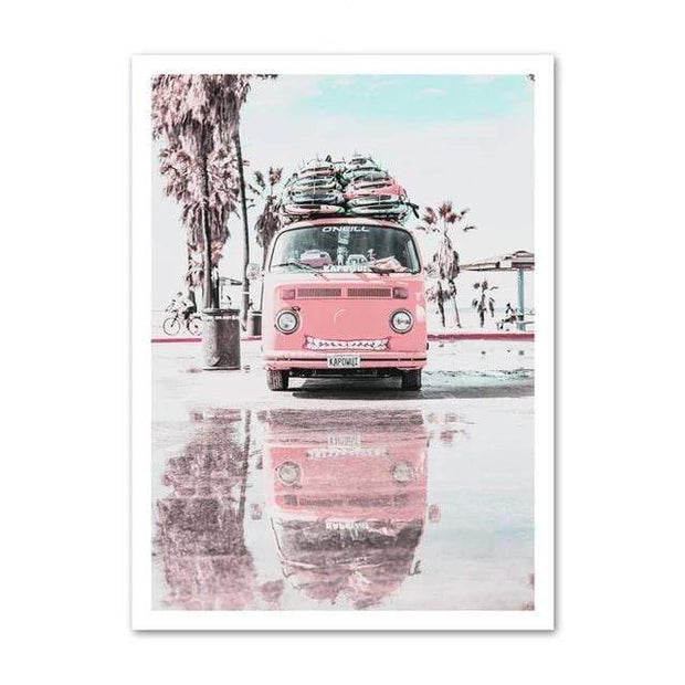 "Nordic Wall Art Collection of Beach, Pink Surf Camper Van and an Inspirational Quote VW Front / 5""x7"" Canvas"
