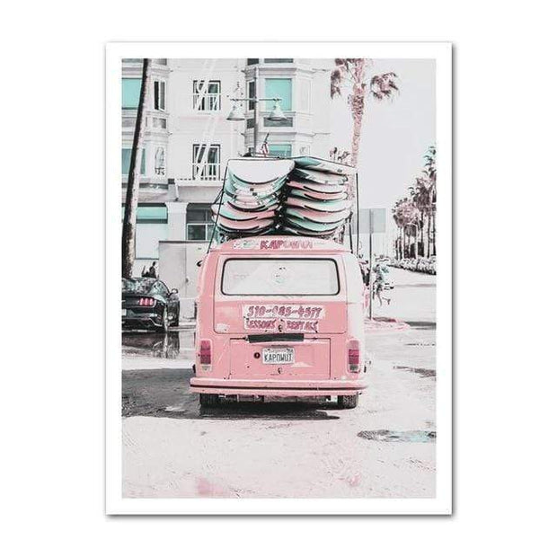"Nordic Wall Art Collection of Beach, Pink Surf Camper Van and an Inspirational Quote VW Rear / 5""x7"" Canvas"