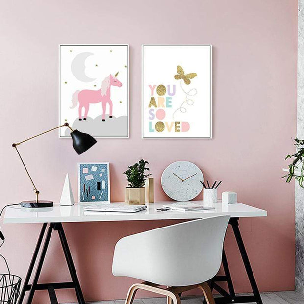 Pink Canvas Posters of Animals For Kids Room Wall Decor canvas