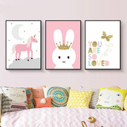 "Pink Canvas Posters of Animals For Kids Room Wall Decor 4""x6"" / Unicorn canvas"