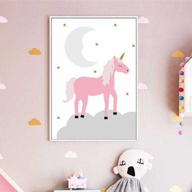 "Pink Canvas Posters of Animals For Kids Room Wall Decor 6""x8"" / Unicorn canvas"