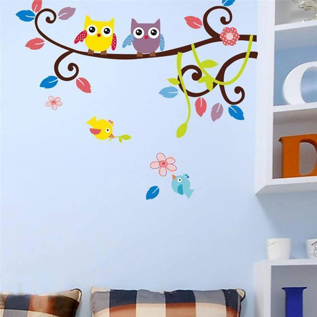 "Playful Owls Nursery Wall Stickers 2 Owls / 33""x25"" Wall Sticker"