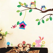 "Playful Owls Nursery Wall Stickers Bird House / 46""x 35"" Wall Sticker"