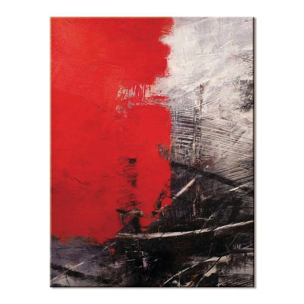 Red, White, & Black Non-Figurative Art Oil Painting Oil Painting