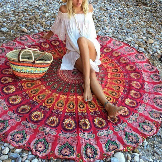 Round Mandala Tapestry Red Tapestry
