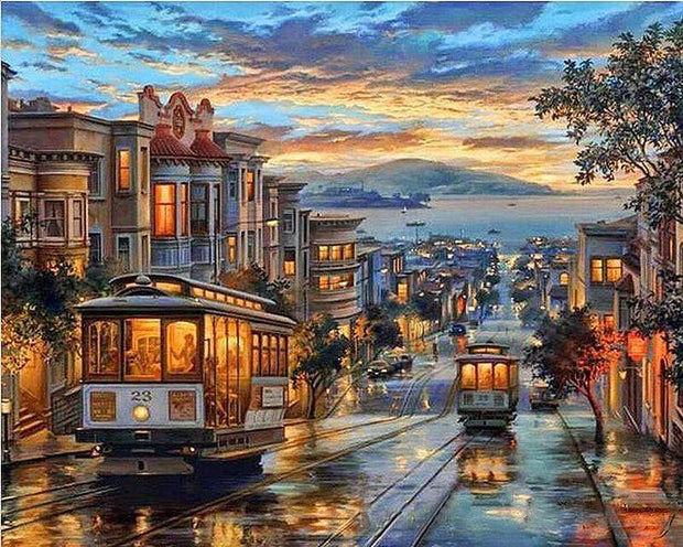 San Francisco Famous Trolly DIY Painting By Numbers DIY