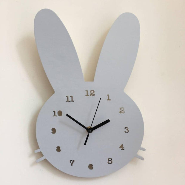 Scandinavian Inspired Wooden Rabbit Clock Grey Accessories