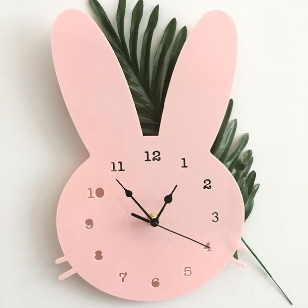 Scandinavian Inspired Wooden Rabbit Clock Pink Accessories