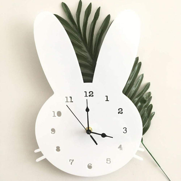 Scandinavian Inspired Wooden Rabbit Clock White Accessories