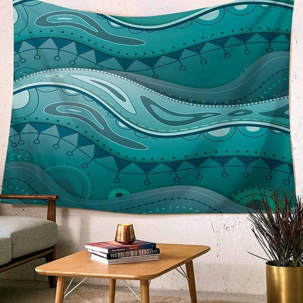 Sea Wave Printed Wall Hanging Tapestry Tapestry