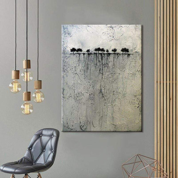 Silhouette of Trees Oil Painting Canvas Oil Painting