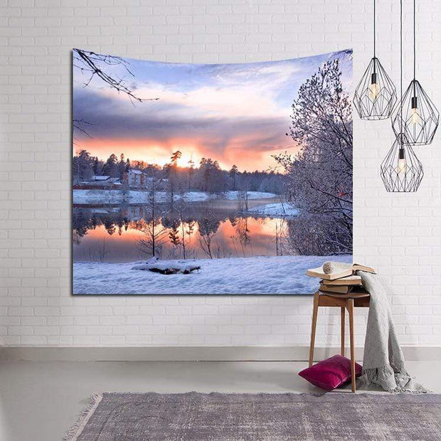 Sunset by Snowy Lake Tapestry Tapestry