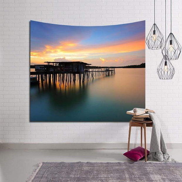 Sunset by the Wharf Wall Tapestry Tapestry