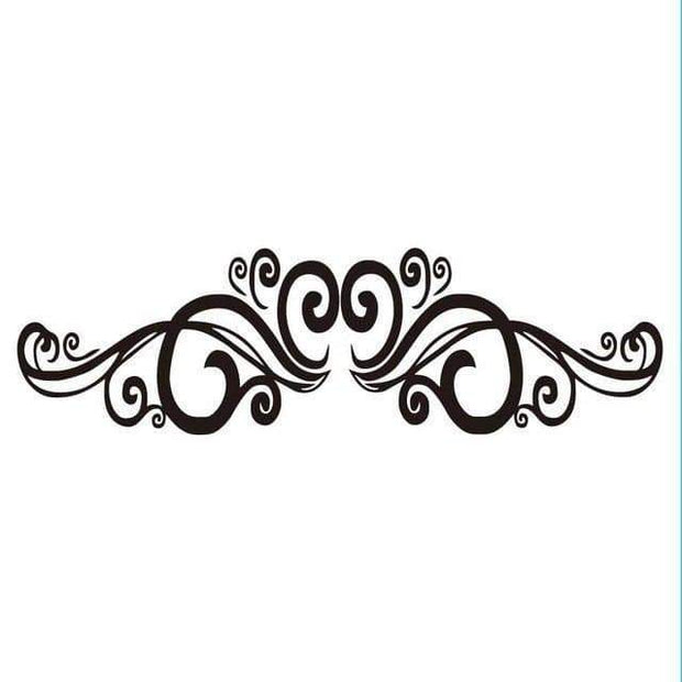 "Symmetrical Swirls Headboard Wall Sticker Black / 56""x16"" Wall Sticker"