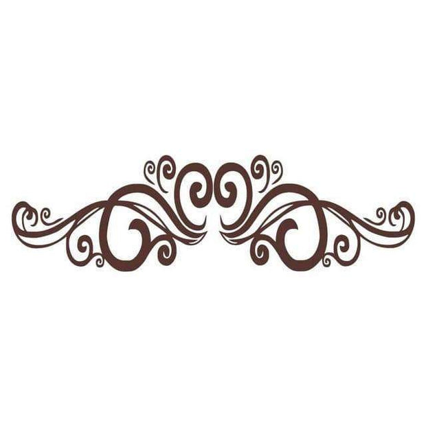 "Symmetrical Swirls Headboard Wall Sticker Coffee / 56""x16"" Wall Sticker"