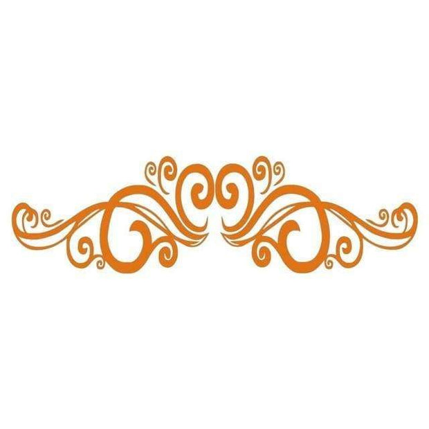 "Symmetrical Swirls Headboard Wall Sticker Orange / 56""x16"" Wall Sticker"