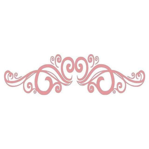 "Symmetrical Swirls Headboard Wall Sticker Pink / 56""x16"" Wall Sticker"