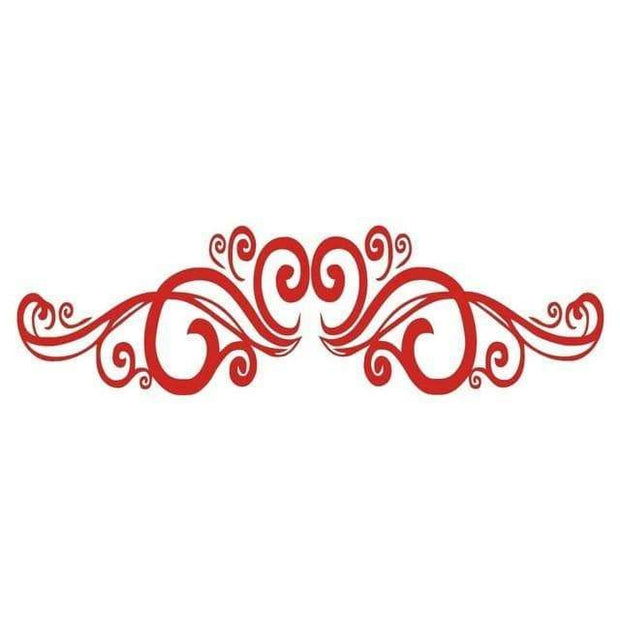 "Symmetrical Swirls Headboard Wall Sticker Red / 56""x16"" Wall Sticker"