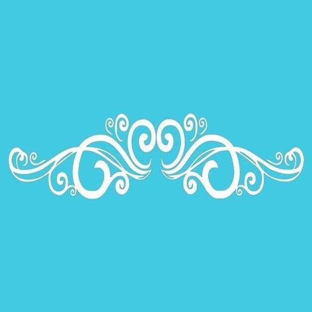 "Symmetrical Swirls Headboard Wall Sticker White / 56""x16"" Wall Sticker"