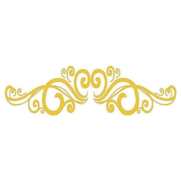 "Symmetrical Swirls Headboard Wall Sticker Yellow / 56""x16"" Wall Sticker"