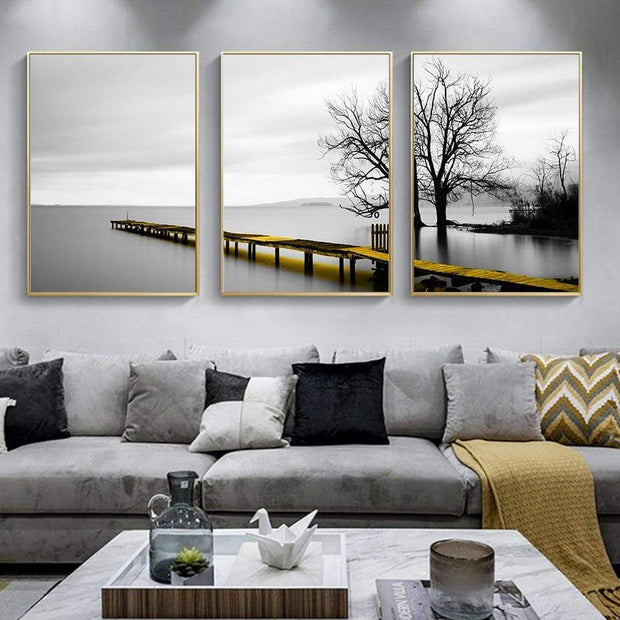 Three Piece Scenery Of Lake With Bridge And Tree Canvas Print Canvas