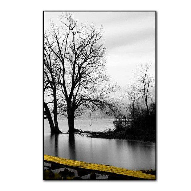 Three Piece Scenery Of Lake With Bridge And Tree Canvas Print 30x40 cm no frame / PICTURE C Canvas