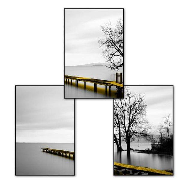 "Three Piece Scenery Of Lake With Bridge And Tree Canvas Print 9""x12"" / set Canvas"